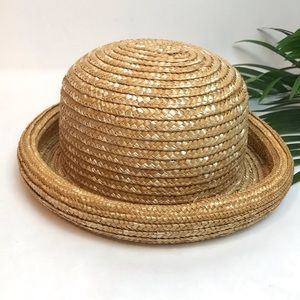 STRAW BOWLER HAT Excellent, Like New Condition